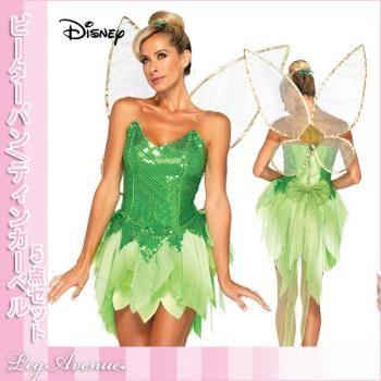 ティンカーベル/ティンク ディズニー映画ピーターパンの妖精 「ティンカーベル」コス5点セット ハロウィンコスチューム レッグアベニュー Disney Peter Pan Tinkerbell Costume
