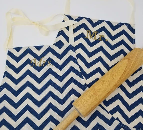 Navy Mr & Mrs Apron Set with Pocket – Navy Chevron Husband and Wife, Kitchen Gift Idea, Free Shipping Made in USA