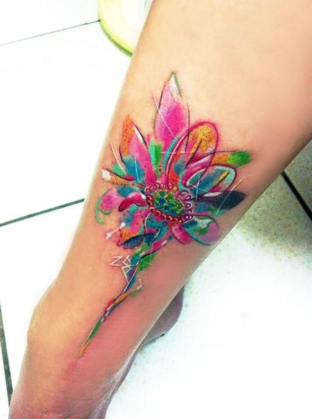 watercolor flowers tattoos - Buscar con Google