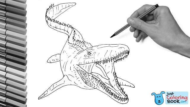 Drawing And Coloring The Mosasaur From Jurassic World Dinosaur Color Pages For Kids Intended For Mo Dinosaur Coloring Dinosaur Coloring Pages Coloring Pages