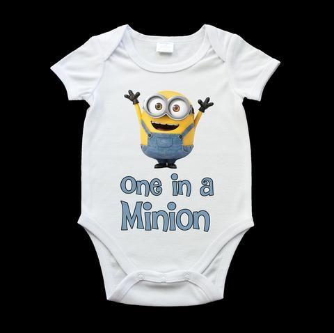 One in a minion boy baby onesie, romper suit, funny minion baby onesie