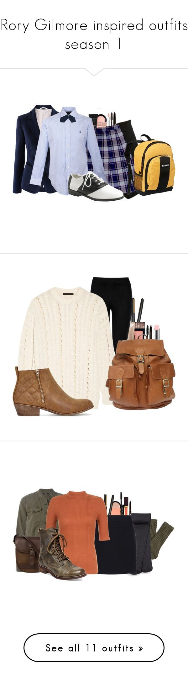 Rory Gilmore inspired outfits season 1 by cheyleexox ❤ liked on Polyvore featuring Stila, Christian Dior, Anastasia Beverly Hills, MAC Cosmetics, Bobbi Brown Cosmetics, Smashbox, Polo Ralph Lauren, Everest, Funtasma and GHD