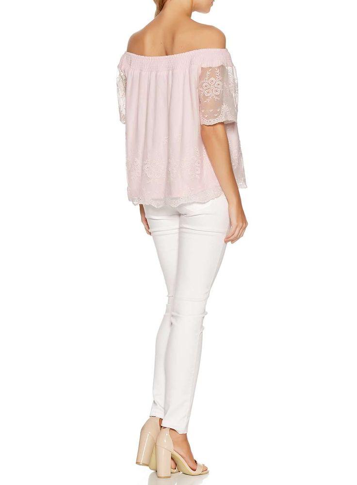Womens *Quiz Pink Bardot Mesh Gypsy Top- Pink