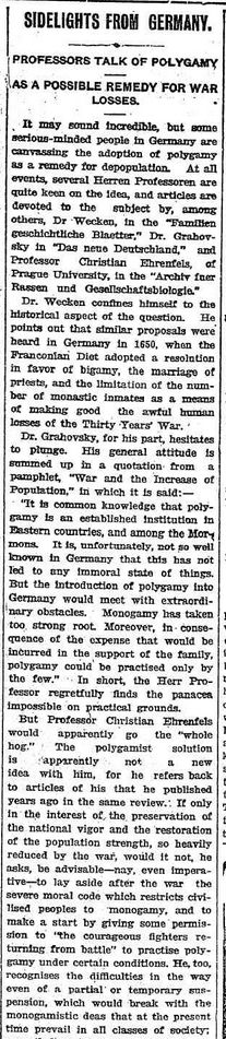 """WWI, 4 Dec 1916; """"Germany- Polygamy as a remedy for depopulation"""" - The Daily News, Perth"""