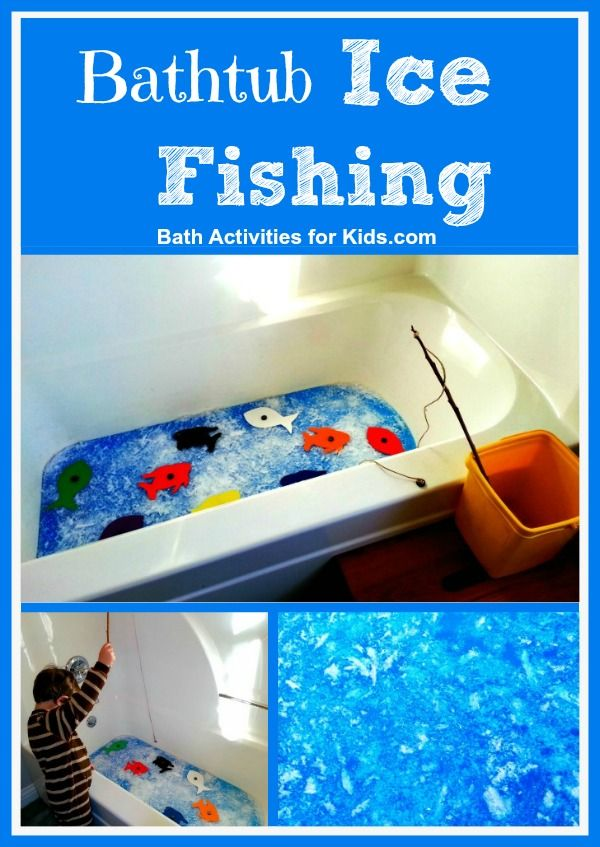 """Bath Activities for Kids: Bathtub Ice Fishing (As I was checking out the blog post, my 2-year old came over and said, """"I want to fish in the bathtub!!!"""" :)"""