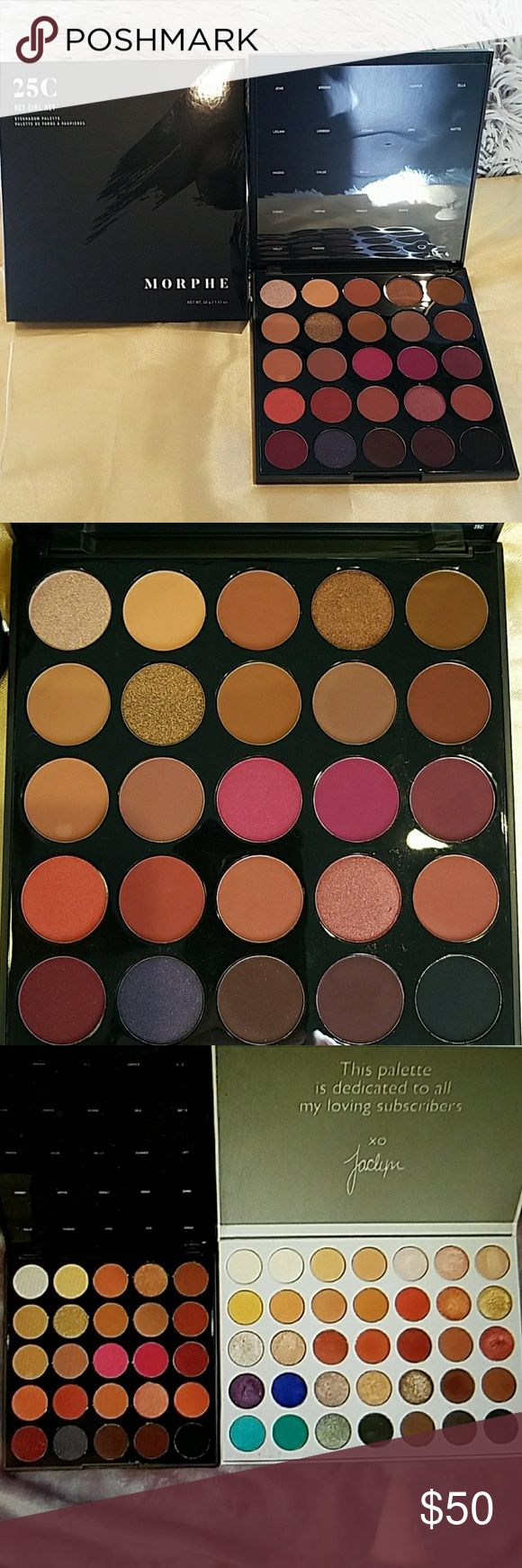 """Morphe 25C """"Hey Girl Hey Palette"""" BRAND NEW ONLY AVAILABLE IN THE STORE and NOT ONLINE and """"hey girl"""" is she a beauty! Buttery texture with the payout and quality the brand is known for - shades of gold,  pink,  brown,  orange a glittery purple and a matte black. Not well known because of limited availability you will be the envy of other make up lovers. This palette is amazing with a capital A! Shown next to Jaclyn Hill and 24G for size comparison. Morphe Makeup Eyeshadow"""