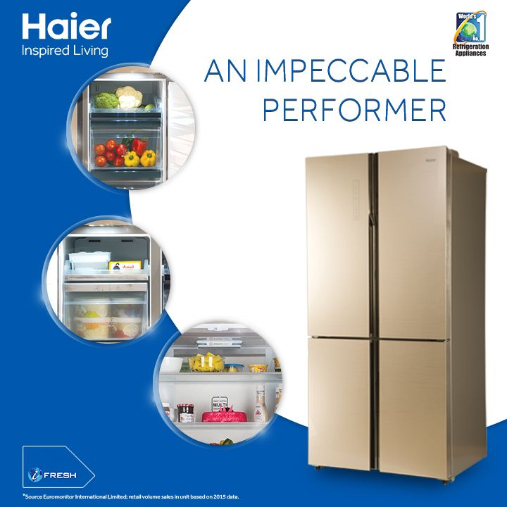 Spruce up your style statement with #Haier's 4 Door GlassDoor #SideBySide #Refrigerator that takes performance and elegance to another level. Bring it home today. #HaierIndia #InspiredLiving #Innovation #Technology #Appliances #Lifestyle