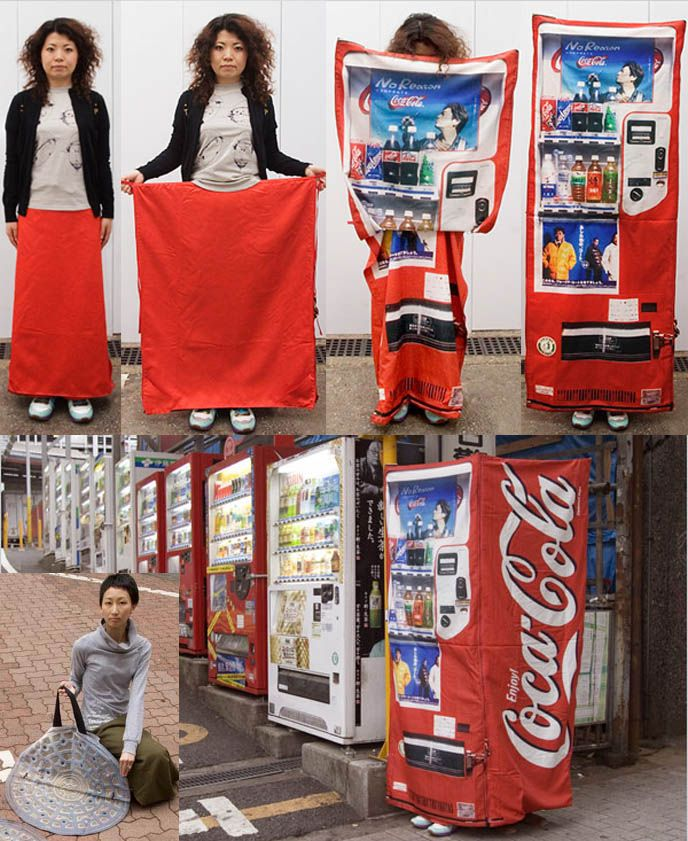 Japanese vending machine and pothole manhole disguise, silly weird useless Japanese inventions, funny photos Tokyo clothing, art projects