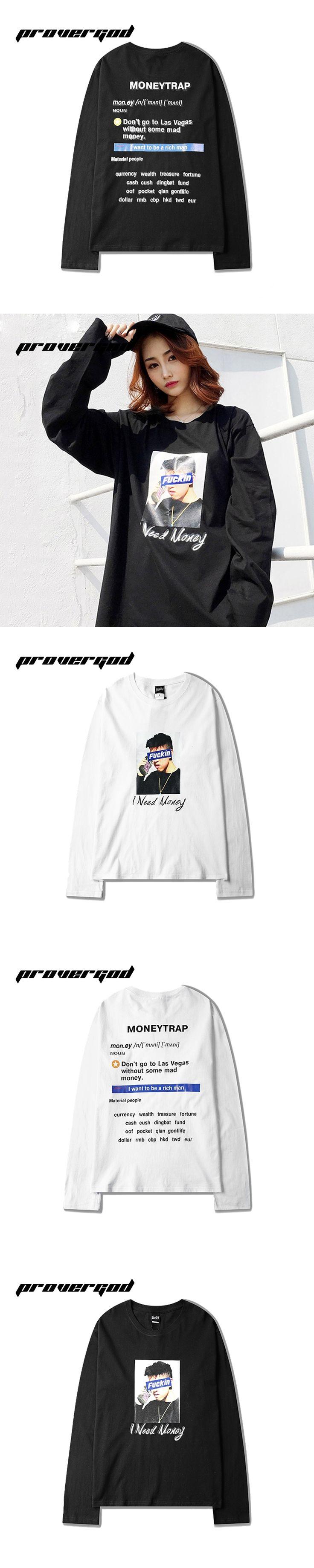 PROVERGOD I Want To Be Rich Man T Shirt High Street Cotton T-shirt Mens O Neck Long Sleeve Tops Tees Oversize