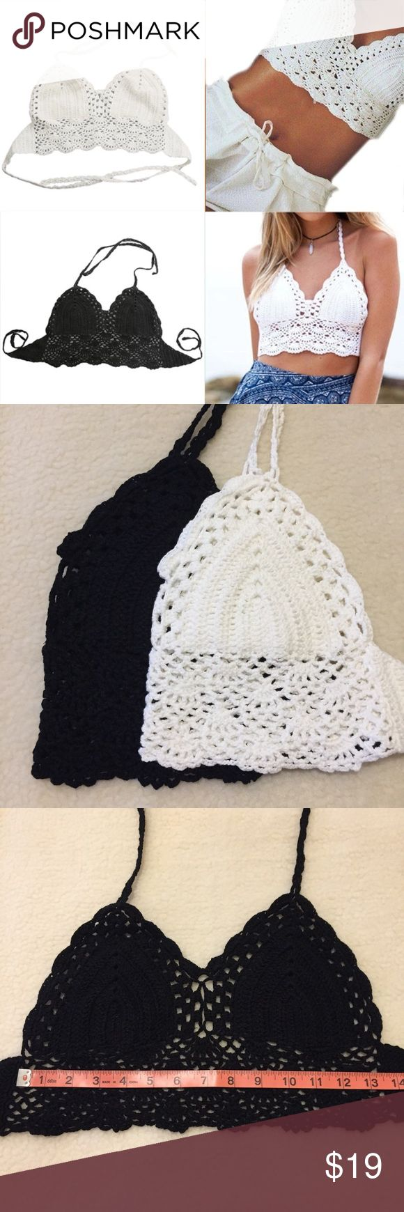 Crochet Crop Top Black White Nude Halter style, crochet with lining. Pair it with denim shorts or your own bikini bottoms!  Available in black, white and nude/tan colors  One size, best fit size 32-38 cups A, B and C. STAR Swim Bikinis