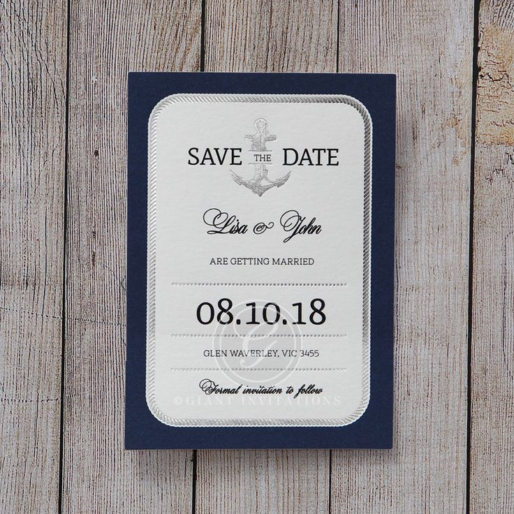 cruise wedding save the date announcement%0A Blue Seaside Romance  Save the Date  Wedding Stationery