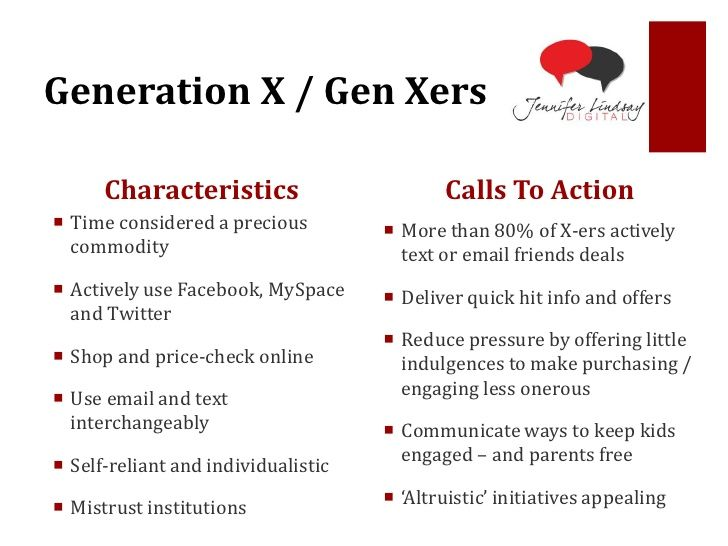 characteristics of the baby boomer generation generation x and generation y Generation x for a few more years, gen xers are projected to remain the middle child of generations - caught between two larger generations, the millennials and the boomers gen xers were born during a period when americans were having fewer children than in later decades.