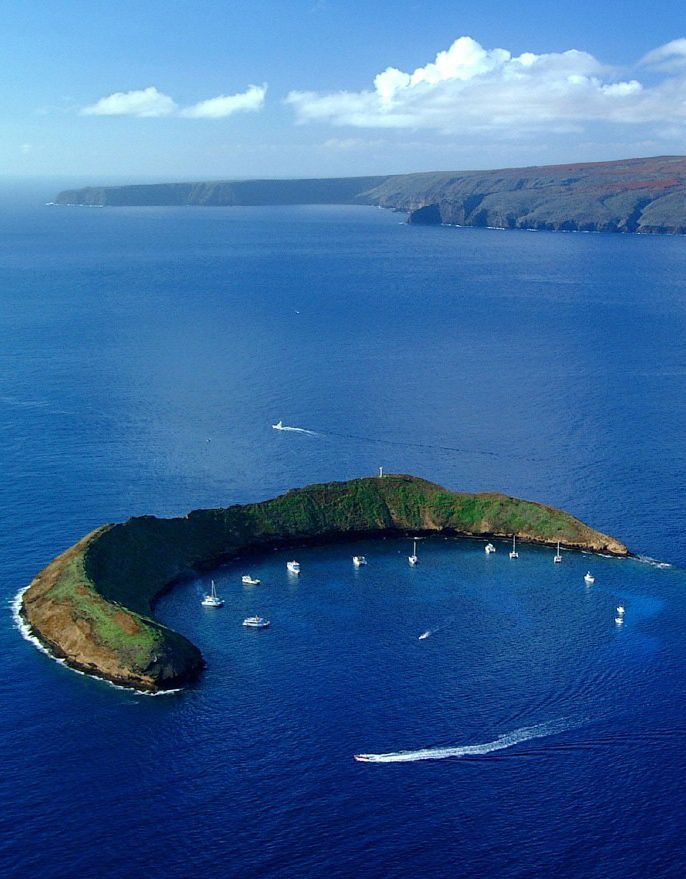 Molokini, Hawaii - off the island of Maui.  Great snorkeling and diving area!  (Notice no star!).  ASPEN CREEK TRAVEL - karen@aspencreektravel.com