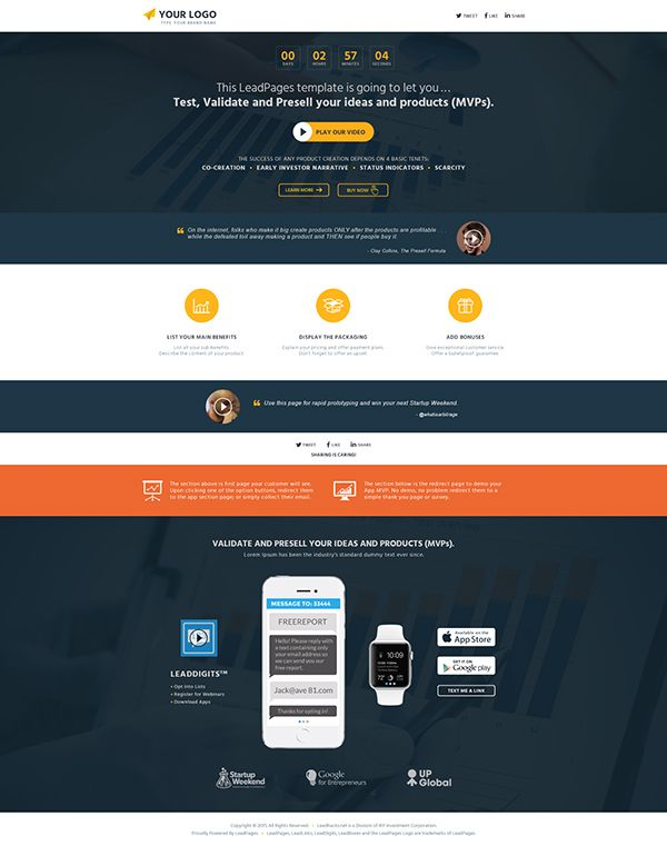 13 best leadpages templates images on pinterest design facebook test validate presell launch mobile app mvp leadpages template download pronofoot35fo Choice Image