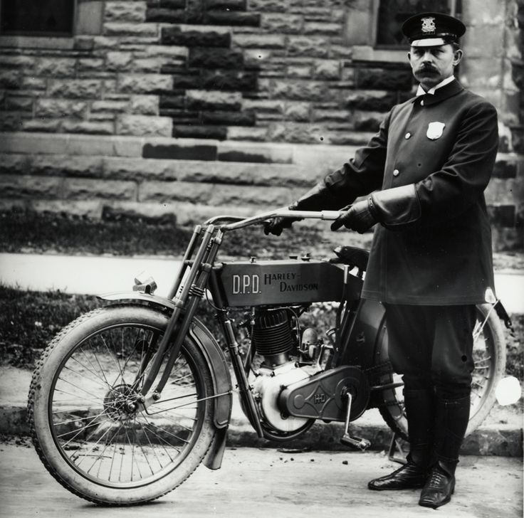 Harley Davidson Police Officer from the Detroit Police Department, circa 1915.