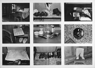 SOPHIE CALLE Hotel Room 28, 1983 Black and white and color photograph with text 49 x 56 inches, each panel Edition of eight  Courtesy Donald Young Gallery, Chicago