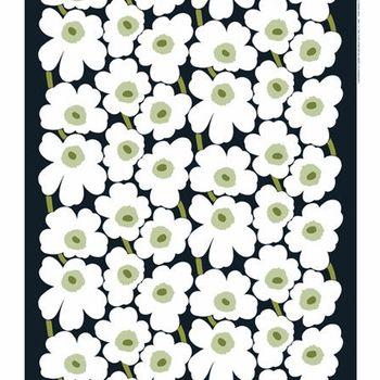 Marimekko Pieni Unikko Black / Green / White PVC Fabric #pintofinn