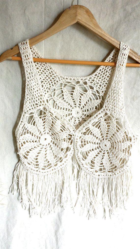 Cotton crochet waistcoat  ivory crochet fringe by PoppyBlueCrochet, £15.00