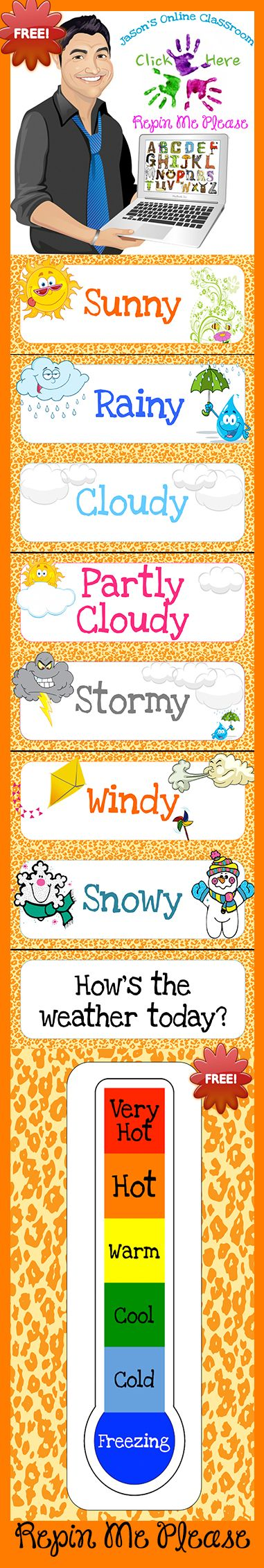 FREEBIE weather bulletin board printable.  Animal print themed!
