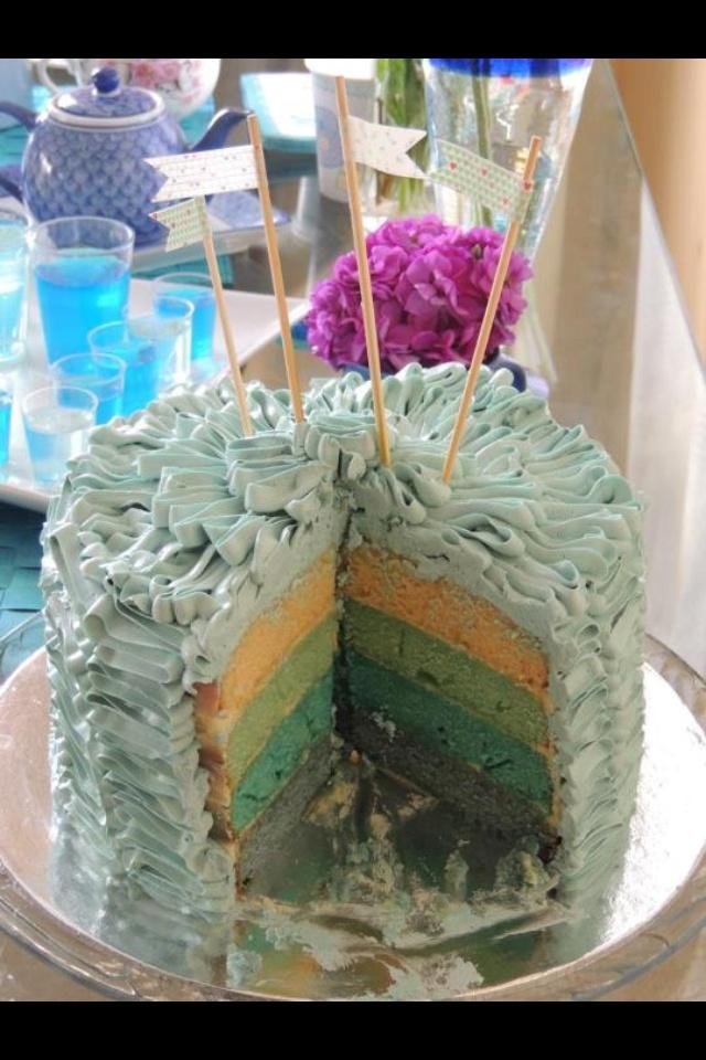Inside baby blue ruffle cake - vanilla layer cake