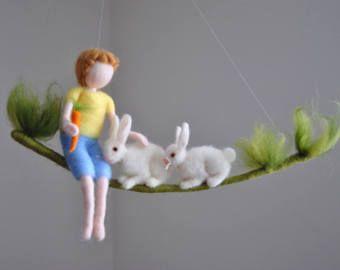 Nursery Ornament Waldorf inspired needle felted: fairy baby