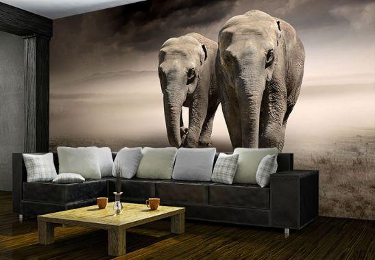 Fototapete Die Elefanten - schönes Elefantenpaar als Deko | wall-art.de