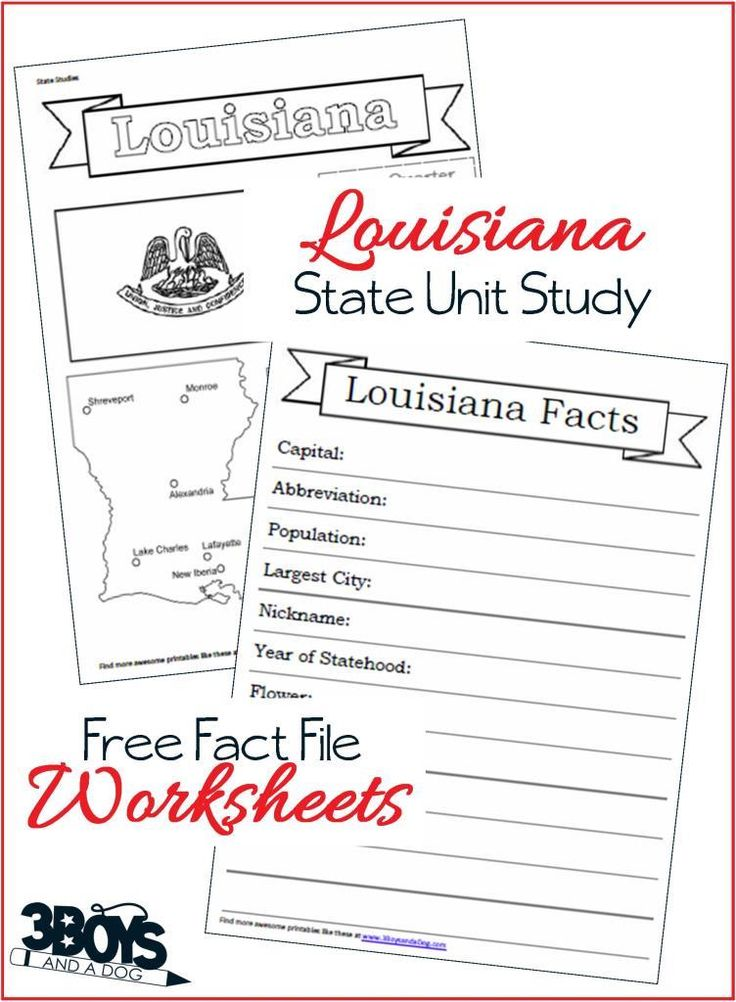 These Louisiana State Fact File Worksheets are the perfect worksheets to help you and your child record many facts about the state of Louisiana.