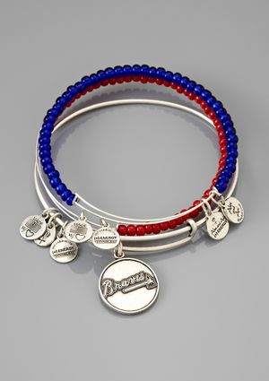 ALEX & ANI Atlanta Braves Set of 3 Charm Bracelet