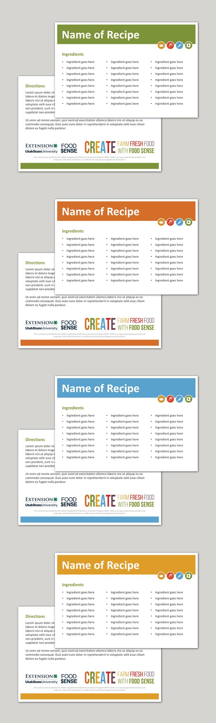 Double Sided Recipe Cards