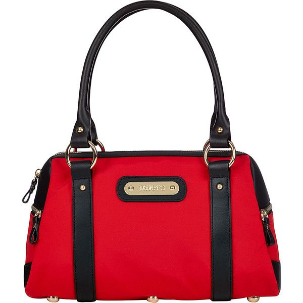 Davey's Doctor Bag Satchel - Red/Black Leather - Satchels ($96) ❤ liked on Polyvore featuring bags, handbags, red, red satchel handbag, satchel purses, leather doctor bag, red purse and leather satchel handbags