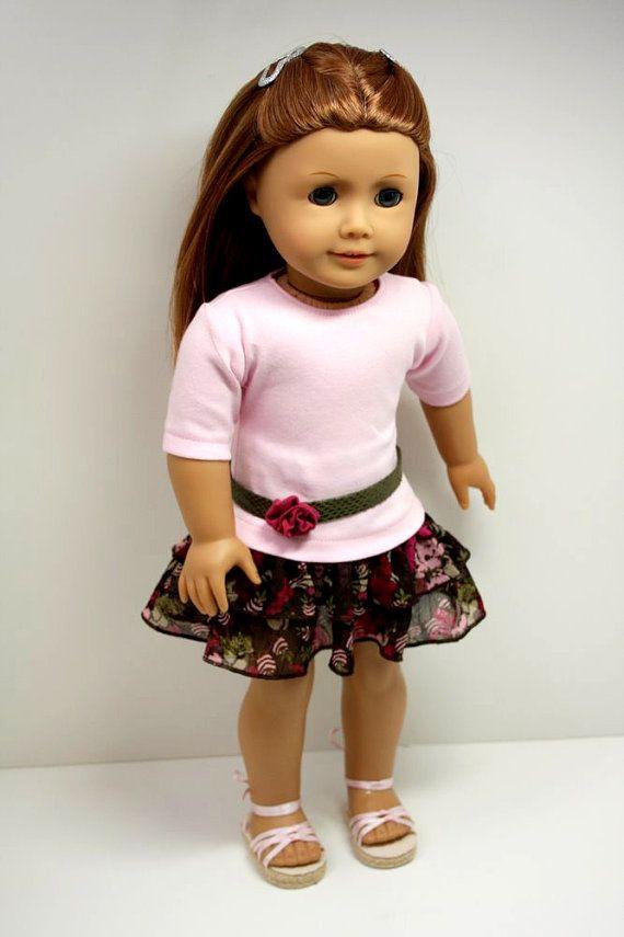American Girl Doll ClothesT Shirt Ruffled Skirt by sewurbandesigns
