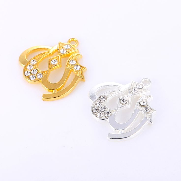 5PCS Islamic Allah Pendant Women Gold/Rhodium Plated Rhinestone Charms Fits Necklaces Religious Muslim Jewelry Wholesale