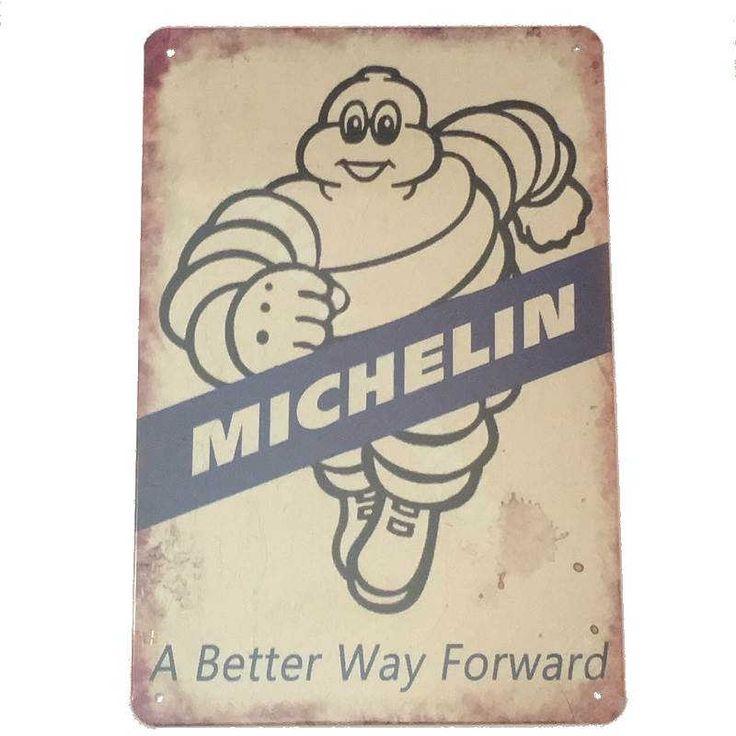 Michelin Man Running Tin Sign 30x20cm Michelin man, Tin