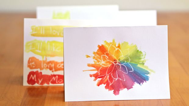 Easy and lovely watercolor cards that kids of any age can make.