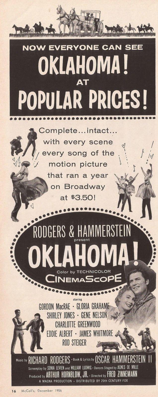 Vintage Oklahoma movie ad from McCall's magazine, December 1956