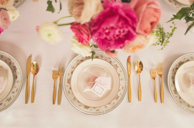 gold silverware. Bridal shower. great example of the gold and pink theme + the use of gold utensils. super cute :)