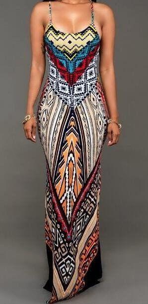 Romoti Tribal Print Slit Long Dress