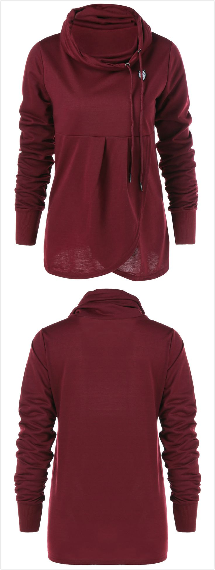 Pullover Cowl Collar Sweatshirt - Wine Red
