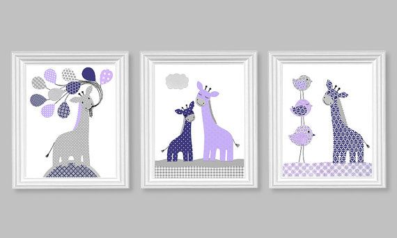 Gray Navy Purple Giraffe Nursery Art Set of by SweetPeaNurseryArt, $40.00