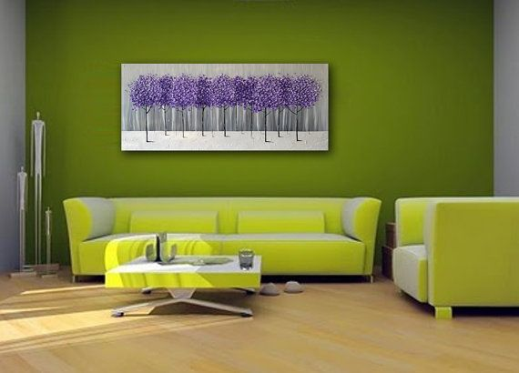Original Modern Art 36x18 Texture Purple Lavender Trees Painting Gray Black White Abstract Landscape Artwork Unique Living Room