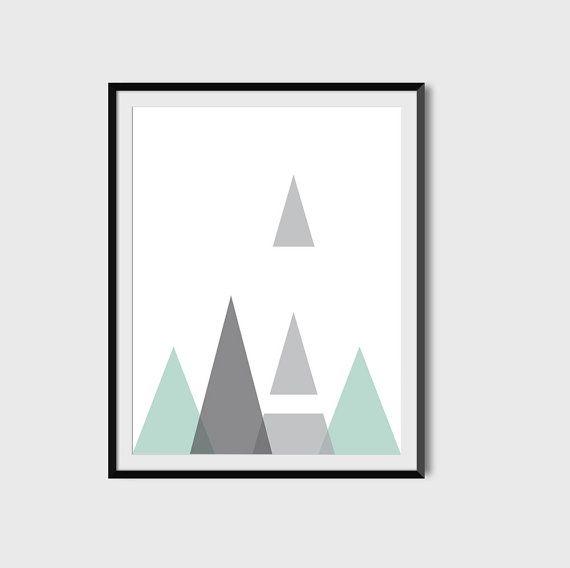 Grey Mint Geometric Wall Art