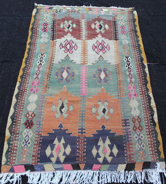 "handwoven rug kilim, Orange pink green rug, turkish kilim, handmade rug, joyful colors rug patterns wool rug kilim 7'7.7""x4'11"" / 233x150cm"