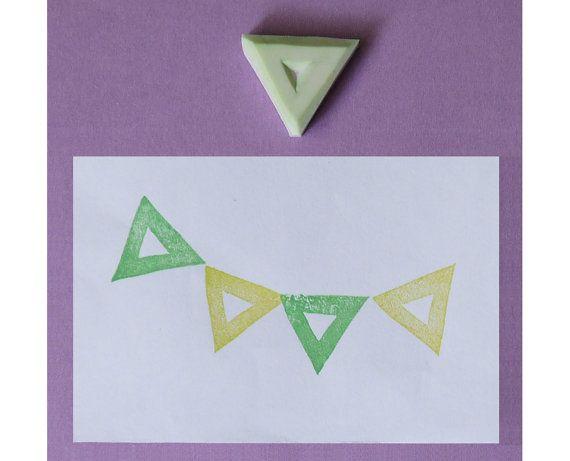 Triangolo intagliato in cava / geometrica timbro timbro di gomma / bandiera timbro - timbro di gomma scolpito a mano, a mano timbro, timbro scolpito a mano