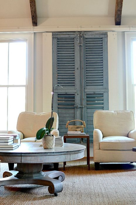 Gorgeous beach nautical blue and white cottage casual living room