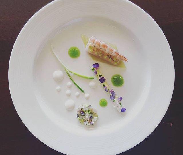 Luan Ten Cate Johannesburg, South Africa Obsiblue Prawn, Seabream Sashimi, Green Almond, Green Tomato and Buttermilk Emulsion