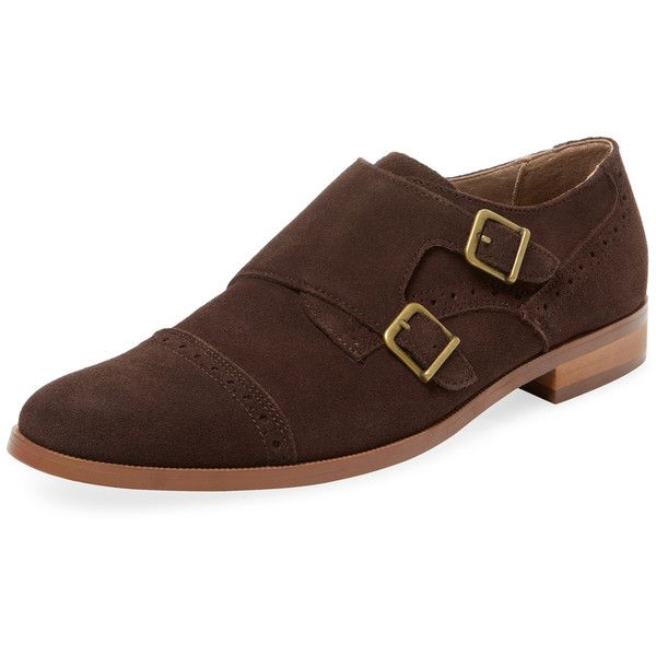 Original Penguin Men's Broguing Double Monkstrap - Brown - Size 10 (101,565 KRW) ❤ liked on Polyvore featuring men's fashion, men's shoes, men's dress shoes, brown, mens dress shoes, mens brown brogue shoes, mens brown cap toe dress shoes, mens brown leather shoes and mens leather brogues