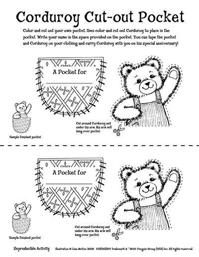 Free Printable Corduroy Bear Coloring Sheet Sketch