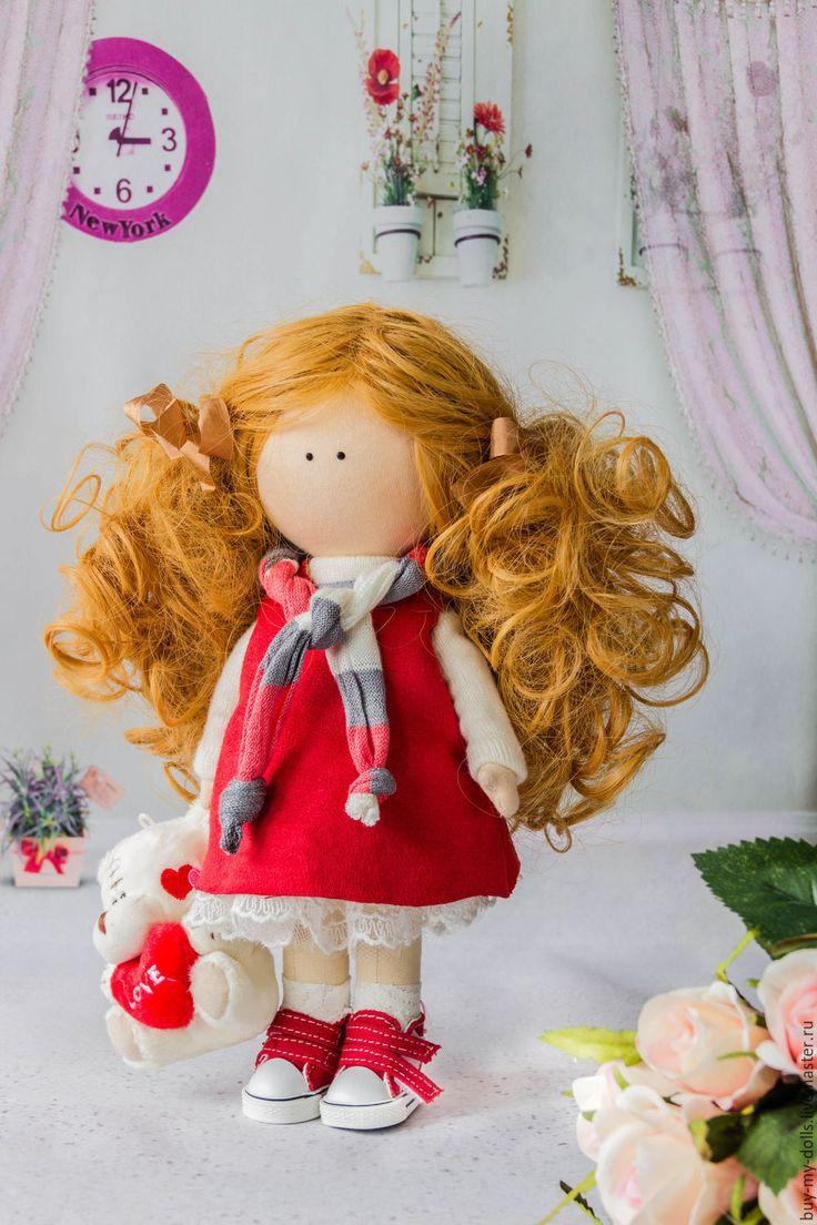 Купить Рыжая кукла-тыквоголовка ручной работы - комбинированный, мятный, зефирный, кукла, интерьерная кукла