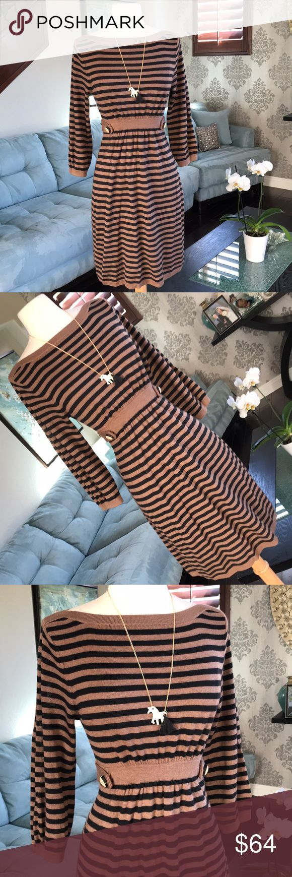 👗🌸Anthropologie adorable cashmere dress ❤️ Gorgeous brown black stripes cashmere silk blend adorable dress by Anthropologie Ella Moss so comfy and cute on with side buttons detail in excellent condition ❤️ Anthropologie Dresses