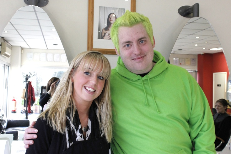 """Web designer Chris has """"gone green for Swindon Women's Aid"""" With thanks to the team at Partners Hair & Beauty in West Swindon (who will soon be re-opening as Caroline Collis Hairdressing and Beauty) for the discounted hair colouring and Graphic Signs & Design for the excellent green hoodie explaining the odd hair colour choice :) For more information see the news section at www.swindonwomensaid.org or sponsor Chris at www.charitygiving.co.uk/chrisgrant"""
